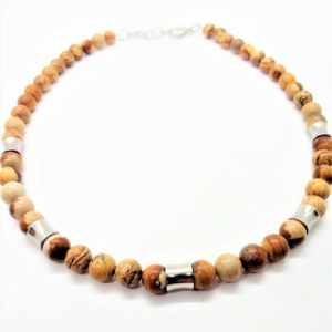 Shop Picture Jasper Necklaces! Men's Stone Necklace, Picture Jasper Necklace for Men, Handmade Jewelry for Man, Stainless and Stone Necklace, Boyfriend Gift, Unisex | Natural genuine Picture Jasper necklaces. Buy handcrafted artisan men's jewelry, gifts for men.  Unique handmade mens fashion accessories. #jewelry #beadednecklaces #beadedjewelry #shopping #gift #handmadejewelry #necklaces #affiliate #ad