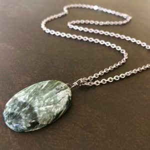 Shop Seraphinite Necklaces! Men's Stone Necklace, Seraphinite Necklace, Green Stone Pendant, Natural Stone, Stainless Steel Chain, Unisex Necklace, Gift For Him 1673 | Natural genuine Seraphinite necklaces. Buy crystal jewelry, handmade handcrafted artisan jewelry for women.  Unique handmade gift ideas. #jewelry #beadednecklaces #beadedjewelry #gift #shopping #handmadejewelry #fashion #style #product #necklaces #affiliate #ad