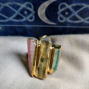 Shop Angel Aura Quartz Jewelry! Mixed Aura Quartz Adjustable Size Ring with Aqua, Angel and Rose Aura – Abundance, Attunement, Romance | Natural genuine Angel Aura Quartz jewelry. Buy crystal jewelry, handmade handcrafted artisan jewelry for women.  Unique handmade gift ideas. #jewelry #beadedjewelry #beadedjewelry #gift #shopping #handmadejewelry #fashion #style #product #jewelry #affiliate #ad