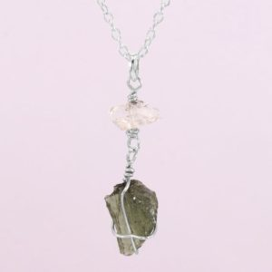 Shop Moldavite Jewelry! Moldavite Necklace-herkimer Diamond Pendant-sterling Silver Pendant-authentic Moldavite-16+3 Inch Adjustable Sterling Silver Chain | Natural genuine Moldavite jewelry. Buy crystal jewelry, handmade handcrafted artisan jewelry for women.  Unique handmade gift ideas. #jewelry #beadedjewelry #beadedjewelry #gift #shopping #handmadejewelry #fashion #style #product #jewelry #affiliate #ad