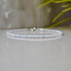 Shop Moonstone Bracelets! June birthstone, Moonstone bracelet – bracelet femme, delicate bracelet sterling silver, white crystal jewelry, womens gift  bracelet | Natural genuine Moonstone bracelets. Buy crystal jewelry, handmade handcrafted artisan jewelry for women.  Unique handmade gift ideas. #jewelry #beadedbracelets #beadedjewelry #gift #shopping #handmadejewelry #fashion #style #product #bracelets #affiliate #ad