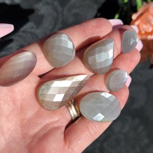 Shop Moonstone Cabochons! Grey Moonstone Faceted Cabochon, Choose Your Crystal Gemstone for Jewelry Making or Crystal Grids | Natural genuine stones & crystals in various shapes & sizes. Buy raw cut, tumbled, or polished gemstones for making jewelry or crystal healing energy vibration raising reiki stones. #crystals #gemstones #crystalhealing #crystalsandgemstones #energyhealing #affiliate #ad