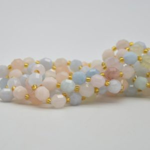 """Shop Morganite Faceted Beads! Grade A Natural Morganite Semi-precious Gemstone Double Tip FACETED Round Beads – 7mm x 8mm – 15.5"""" strand 