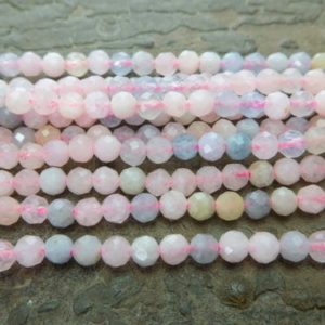 natural morganite gemstone beads – small stone spacer beads – pink and blue beads – faceted round stone beads – natural stone beads -15inch | Natural genuine beads Gemstone beads for beading and jewelry making.  #jewelry #beads #beadedjewelry #diyjewelry #jewelrymaking #beadstore #beading #affiliate #ad
