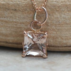 Shop Morganite Pendants! Dainty Princess-Cut Morganite Pendant or Necklace in Solid Gold LS5691 | Natural genuine Morganite pendants. Buy crystal jewelry, handmade handcrafted artisan jewelry for women.  Unique handmade gift ideas. #jewelry #beadedpendants #beadedjewelry #gift #shopping #handmadejewelry #fashion #style #product #pendants #affiliate #ad