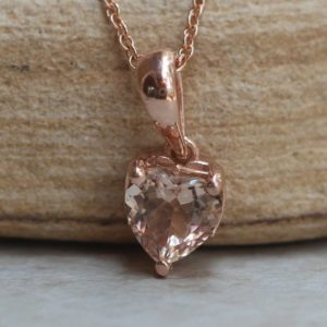 Shop Morganite Pendants! Heart Shaped Morganite Pendant in Solid Gold Solitaire Setting LS5692 | Natural genuine Morganite pendants. Buy crystal jewelry, handmade handcrafted artisan jewelry for women.  Unique handmade gift ideas. #jewelry #beadedpendants #beadedjewelry #gift #shopping #handmadejewelry #fashion #style #product #pendants #affiliate #ad