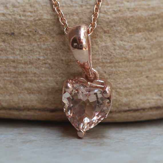 Heart Shaped Morganite Pendant In Solid Gold Solitaire Setting Ls5692