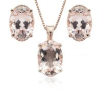 Morganite Jewelry Set – Oval Morganite And Diamond Side Halo Pendant With Matching Oval Morganite Earrings In 14k Rose Gold – Ls4665 | Natural genuine Gemstone jewelry. Buy crystal jewelry, handmade handcrafted artisan jewelry for women.  Unique handmade gift ideas. #jewelry #beadedjewelry #beadedjewelry #gift #shopping #handmadejewelry #fashion #style #product #jewelry #affiliate #ad