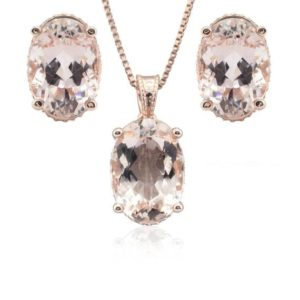 Shop Morganite Pendants! Morganite Jewelry Set – Oval Morganite and Diamond Side Halo Pendant with Matching Oval Morganite Earrings in 14k Rose Gold – LS4665 | Natural genuine Morganite pendants. Buy crystal jewelry, handmade handcrafted artisan jewelry for women.  Unique handmade gift ideas. #jewelry #beadedpendants #beadedjewelry #gift #shopping #handmadejewelry #fashion #style #product #pendants #affiliate #ad