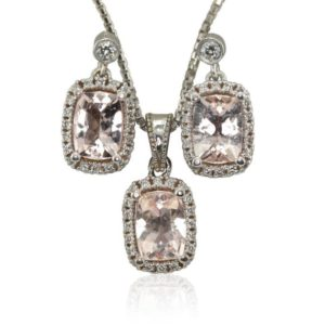 Shop Morganite Pendants! Laurie Sarah Morganite Earrings, Morganite Pendant, Diamond Halo Earrings, Diamond Halo Pendant Jewelry Set – LS3607 | Natural genuine Morganite pendants. Buy crystal jewelry, handmade handcrafted artisan jewelry for women.  Unique handmade gift ideas. #jewelry #beadedpendants #beadedjewelry #gift #shopping #handmadejewelry #fashion #style #product #pendants #affiliate #ad