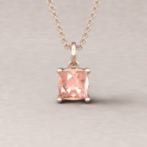 """Shop Morganite Pendants! Morganite Square Cushion Pendant – 6mm """"Lola"""" Pendant with Genuine G-H, SI1-SI2 Diamonds – Lola Collection – by Laurie Sarah – LS5460 