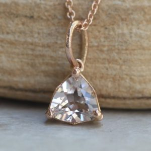 Shop Morganite Pendants! Trillion Cut Morganite Pendant Necklace Dainty 6mm in Rose Gold LS5689 | Natural genuine Morganite pendants. Buy crystal jewelry, handmade handcrafted artisan jewelry for women.  Unique handmade gift ideas. #jewelry #beadedpendants #beadedjewelry #gift #shopping #handmadejewelry #fashion #style #product #pendants #affiliate #ad