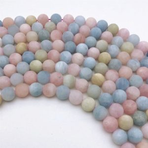 Shop Morganite Round Beads! 10mm Natural Matte Multicolor Morganite Beads, Round Gemstone Beads, Wholesale Beads | Natural genuine round Morganite beads for beading and jewelry making.  #jewelry #beads #beadedjewelry #diyjewelry #jewelrymaking #beadstore #beading #affiliate #ad