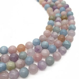 Shop Morganite Round Beads! 10mm Natural Multicolor Morganite Beads, Round Gemstone Beads, Wholesale Beads | Natural genuine round Morganite beads for beading and jewelry making.  #jewelry #beads #beadedjewelry #diyjewelry #jewelrymaking #beadstore #beading #affiliate #ad