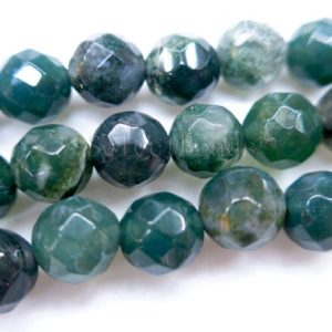 faceted moss agate round beads – semi precious gemstone beads – semi precious stones for jewelry – wholesale gemstone beads -15inch | Natural genuine beads Gemstone beads for beading and jewelry making.  #jewelry #beads #beadedjewelry #diyjewelry #jewelrymaking #beadstore #beading #affiliate #ad