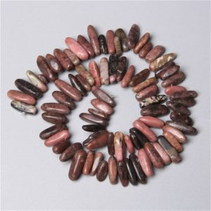 """Shop Rhodochrosite Bead Shapes! Natural Black Line pink Rhodochrosite stone jaspers point beads  gemstone Stick charm beads For Jewelry Making 15"""" 10-24MM bracelet earring 
