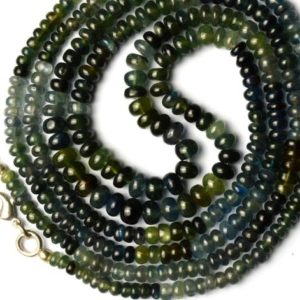"Shop Sapphire Rondelle Beads! Natural Gemstone Australian Multi Sapphire 4 to 6MM Smooth Rondelle Beads 16.5"" Full Strand Sapphire Beads Finished Necklace Super Quality 