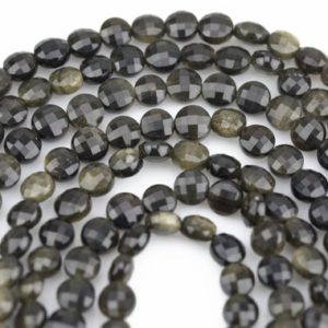 Shop Golden Obsidian Beads! Natural Golden Obsidian- Full Strands-15.5 inches-6mm-  Nice Size Hole- Diamond Cutting,High Facets-Nice and Sparkly-Faceted Coin | Natural genuine other-shape Golden Obsidian beads for beading and jewelry making.  #jewelry #beads #beadedjewelry #diyjewelry #jewelrymaking #beadstore #beading #affiliate #ad