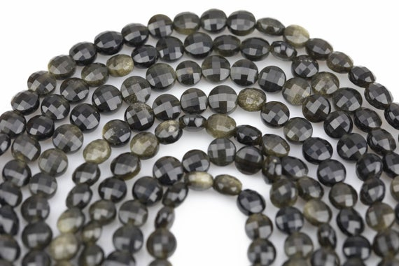 Natural Golden Obsidian- Full Strands-15.5 Inches-6mm-  Nice Size Hole- Diamond Cutting,high Facets-nice And Sparkly-faceted Coin