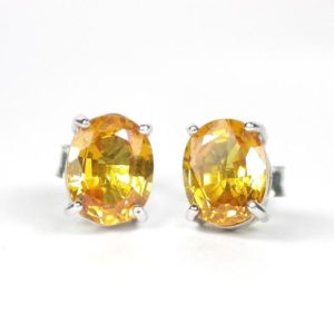 Shop Yellow Sapphire Earrings! Natural golden yellow sapphire earring sterling silver 925. | Natural genuine Yellow Sapphire earrings. Buy crystal jewelry, handmade handcrafted artisan jewelry for women.  Unique handmade gift ideas. #jewelry #beadedearrings #beadedjewelry #gift #shopping #handmadejewelry #fashion #style #product #earrings #affiliate #ad