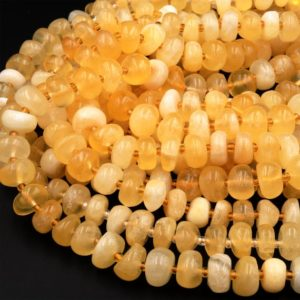 "Natural Honey Yellow Calcite Beads Freeform Center Drilled Rondelle Disc Organic Cut Pebble Nuggets 15.5"" Strand 