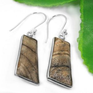 Shop Picture Jasper Earrings! Natural Picture Jasper Earrings – 925 Sterling Silver Dangle & Drop Earrings – Natural Brown Color Earrings – Bohemian Earrings For Women | Natural genuine Picture Jasper earrings. Buy crystal jewelry, handmade handcrafted artisan jewelry for women.  Unique handmade gift ideas. #jewelry #beadedearrings #beadedjewelry #gift #shopping #handmadejewelry #fashion #style #product #earrings #affiliate #ad