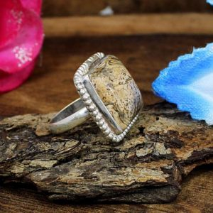 Shop Picture Jasper Rings! Natural Picture Jasper Ring,Jasper Stone Ring,Smooth Ring,Dainty Ring,Silver Ring,Handmade Ring,Silver Gift,Everyday Ring,Jewelry,Stone Ring | Natural genuine Picture Jasper rings, simple unique handcrafted gemstone rings. #rings #jewelry #shopping #gift #handmade #fashion #style #affiliate #ad