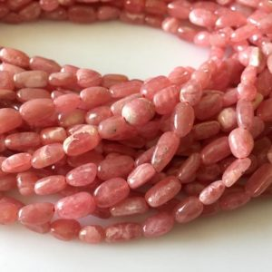 Shop Rhodochrosite Chip & Nugget Beads! Natural Pink Rhodochrosite Tumble Beads, Rhodochrosite Smooth Tumbles, 7mm To 10mm, 16 Inch Strand, GDS801 | Natural genuine chip Rhodochrosite beads for beading and jewelry making.  #jewelry #beads #beadedjewelry #diyjewelry #jewelrymaking #beadstore #beading #affiliate #ad