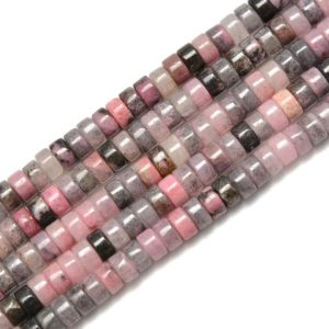 Shop Rhodonite Bead Shapes! Natural Rhodonite Heishi Disc Bead Size 2x4mm 15.5'' per Strand | Natural genuine other-shape Rhodonite beads for beading and jewelry making.  #jewelry #beads #beadedjewelry #diyjewelry #jewelrymaking #beadstore #beading #affiliate #ad