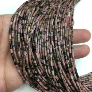 Shop Rhodonite Bead Shapes! Natural Rhodonite Tube Shape Beads Healing Energy Gemstone Loose Beads DIY Jewelry Making Design for Bracelet Nacklace AAA Quality 2X4MM | Natural genuine other-shape Rhodonite beads for beading and jewelry making.  #jewelry #beads #beadedjewelry #diyjewelry #jewelrymaking #beadstore #beading #affiliate #ad
