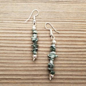 Shop Seraphinite Earrings! Natural SERAPHINITE Handmade Gemstone Chip EARRINGS | Natural genuine Seraphinite earrings. Buy crystal jewelry, handmade handcrafted artisan jewelry for women.  Unique handmade gift ideas. #jewelry #beadedearrings #beadedjewelry #gift #shopping #handmadejewelry #fashion #style #product #earrings #affiliate #ad