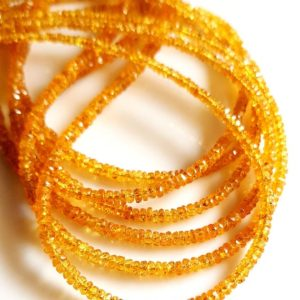 Shop Yellow Sapphire Beads! Natural Yellow Sapphire Gemstone Sapphire Micro Faceted Rondelles Shape Beads 1.5 mm to 3 mm Size Approx. Beads 20 inch Strand SA No.- 452 | Natural genuine rondelle Yellow Sapphire beads for beading and jewelry making.  #jewelry #beads #beadedjewelry #diyjewelry #jewelrymaking #beadstore #beading #affiliate #ad