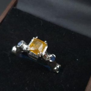 Shop Yellow Sapphire Rings! Natural Yellow Sapphire Ring With Blue Sapphires Ladies Yellow Sapphire Ring 925 Sterling Silver Pukhraj Ring For Woman Yellow Sapphire   Natural genuine Yellow Sapphire rings, simple unique handcrafted gemstone rings. #rings #jewelry #shopping #gift #handmade #fashion #style #affiliate #ad