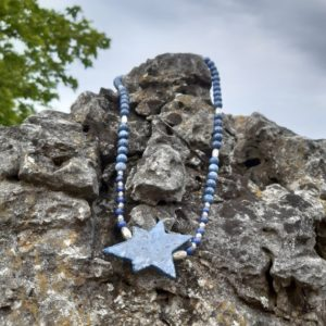 Shop Dumortierite Necklaces! Necklace, dumortierite and silver with pendant – 62 cm – carabiner silver – pendant Dumortierit star approx. 5 x 3 cm | Natural genuine Dumortierite necklaces. Buy crystal jewelry, handmade handcrafted artisan jewelry for women.  Unique handmade gift ideas. #jewelry #beadednecklaces #beadedjewelry #gift #shopping #handmadejewelry #fashion #style #product #necklaces #affiliate #ad