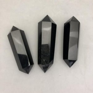 Shop Obsidian Points & Wands! Double Terminated Black Obsidian Point | Natural genuine stones & crystals in various shapes & sizes. Buy raw cut, tumbled, or polished gemstones for making jewelry or crystal healing energy vibration raising reiki stones. #crystals #gemstones #crystalhealing #crystalsandgemstones #energyhealing #affiliate #ad