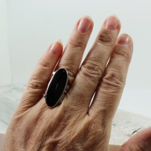 Shop Obsidian Rings! Stunning slim black Obsidian ring set on sterling silver 925 natural black Obsidian ring of top quality jewelry black stone obsidian stone | Natural genuine Obsidian rings, simple unique handcrafted gemstone rings. #rings #jewelry #shopping #gift #handmade #fashion #style #affiliate #ad