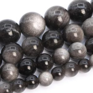 Silver Obsidian Beads Grade AAA Genuine Natural Gemstone Round Loose Beads 4MM 6MM 8MM 9-10MM 12MM Bulk Lot Options | Natural genuine beads Obsidian beads for beading and jewelry making.  #jewelry #beads #beadedjewelry #diyjewelry #jewelrymaking #beadstore #beading #affiliate #ad