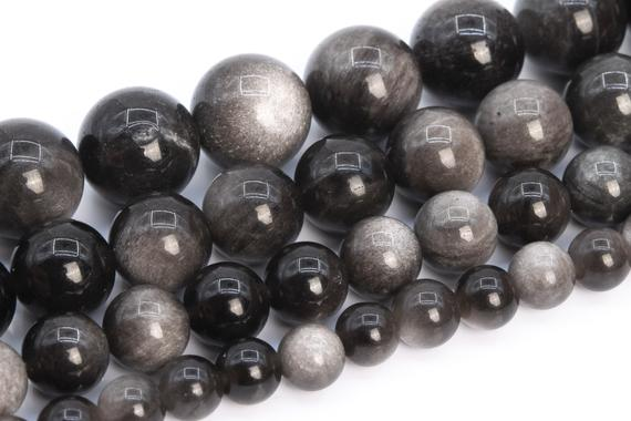 Silver Obsidian Beads Grade Aaa Genuine Natural Gemstone Round Loose Beads 4mm 6mm 8mm 9-10mm 12mm Bulk Lot Options