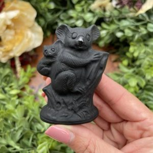 Shop Obsidian Shapes! Black Obsidian Koala Family in Tree Carving – Polished Stone – Black Obsidian Stone – Root Chakra | Natural genuine stones & crystals in various shapes & sizes. Buy raw cut, tumbled, or polished gemstones for making jewelry or crystal healing energy vibration raising reiki stones. #crystals #gemstones #crystalhealing #crystalsandgemstones #energyhealing #affiliate #ad
