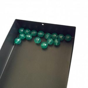 Shop Onyx Faceted Beads! 50 Pieces 6mm Each Green Onyx Round Shaped Faceted Drilled Loose Gemstones SKU-GO3 | Natural genuine faceted Onyx beads for beading and jewelry making.  #jewelry #beads #beadedjewelry #diyjewelry #jewelrymaking #beadstore #beading #affiliate #ad