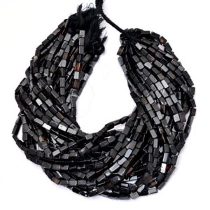 "Shop Onyx Bead Shapes! Black Onyx 5x10mm Smooth Cuboid Tube Beads | 14"" Strand 