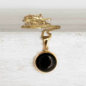 Black Onyx Necklace, 14k Solid Yellow Gold Pendant, December Birthstone Necklace, Dainty Gold Necklace, Black Onyx Pendant Necklace | Natural genuine Array jewelry. Buy crystal jewelry, handmade handcrafted artisan jewelry for women.  Unique handmade gift ideas. #jewelry #beadedjewelry #beadedjewelry #gift #shopping #handmadejewelry #fashion #style #product #jewelry #affiliate #ad