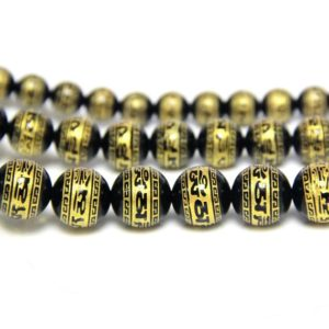 Shop Onyx Round Beads! OM Black Onyx Round Beads 8mm 10mm 12mm, Tibetan OM Beads, Black Gemstone Carved Gold Mandra Om Mani Padme Hum Beads, OM Mala Prayer Beads | Natural genuine round Onyx beads for beading and jewelry making.  #jewelry #beads #beadedjewelry #diyjewelry #jewelrymaking #beadstore #beading #affiliate #ad