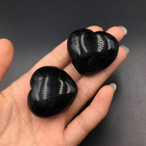"1.6"" Black Onyx Heart Crystal Heart Hand Carved Puffy Heart Shaped Stone Heart Onyx Crystal Heart Gemstone Healing Energy Crystal Gift Ch 