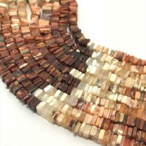 Shop Opal Bead Shapes! 4.5 – 5 mm Natural Fire Opal Disc Square Gemstone Beads Strand Sale / Fire Opal Wholesale / Fire Opal Beads Strand / 5 mm Opal Beads | Natural genuine other-shape Opal beads for beading and jewelry making.  #jewelry #beads #beadedjewelry #diyjewelry #jewelrymaking #beadstore #beading #affiliate #ad