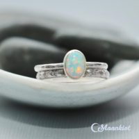 Oval Sterling Silver Opal Ring Set, Silver Opal Engagement Ring Set, Opal Stacking Ring Set | Moonkist Designs | Natural genuine Gemstone jewelry. Buy handcrafted artisan wedding jewelry.  Unique handmade bridal jewelry gift ideas. #jewelry #beadedjewelry #gift #crystaljewelry #shopping #handmadejewelry #wedding #bridal #jewelry #affiliate #ad