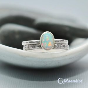 Oval Sterling Silver Opal Ring Set, Silver Opal Engagement Ring Set, Opal Stacking Ring Set | Moonkist Designs | Natural genuine Gemstone rings, simple unique alternative gemstone engagement rings. #rings #jewelry #bridal #wedding #jewelryaccessories #engagementrings #weddingideas #affiliate #ad
