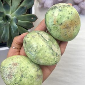 Shop Opal Stones & Crystals! Green Opal Palm stone, Green Opal | Natural genuine stones & crystals in various shapes & sizes. Buy raw cut, tumbled, or polished gemstones for making jewelry or crystal healing energy vibration raising reiki stones. #crystals #gemstones #crystalhealing #crystalsandgemstones #energyhealing #affiliate #ad