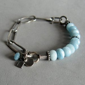 Shop Angelite Bracelets! Oxidised 925 silver and angelite bracelet | Natural genuine Angelite bracelets. Buy crystal jewelry, handmade handcrafted artisan jewelry for women.  Unique handmade gift ideas. #jewelry #beadedbracelets #beadedjewelry #gift #shopping #handmadejewelry #fashion #style #product #bracelets #affiliate #ad