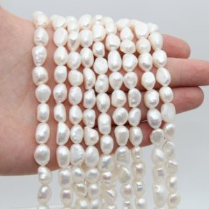 Shop Freshwater Pearls! 9~10MM Nugget Pearl Beads,Freshwater Pearl,White Luster Pearl Beads,Loose Pearl,Seed Pearl Beads,Pearl Strand,Natural Pearl Jewelry Beads. | Natural genuine beads Pearl beads for beading and jewelry making.  #jewelry #beads #beadedjewelry #diyjewelry #jewelrymaking #beadstore #beading #affiliate #ad